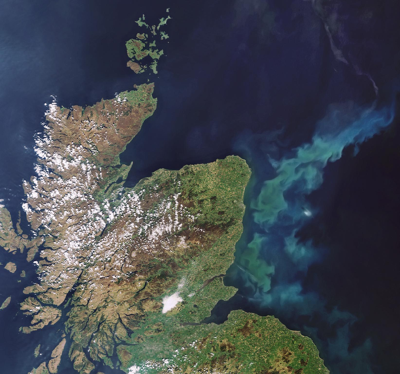 Scotland as seen from a satellite in space