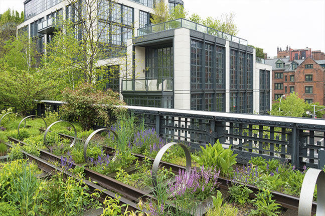 The High Line: Urban public park on a historic train freight line in Chelsea, Manhattan