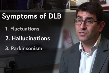 Image of Dr Jon Schott explaining key symptoms of DLB