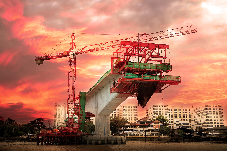 Bridge building in the sunset