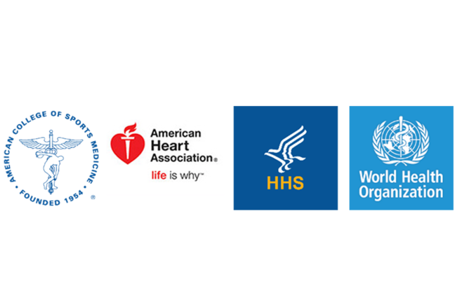 The logos of the American College of Sports Medicine, the American Heart Association, the HHS and the WHO.