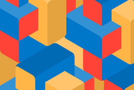 A selection of red, blue and yellow blocks forming a pattern