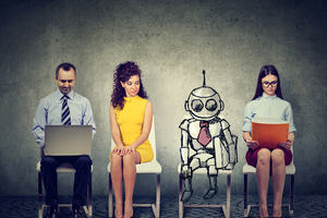 Man in suit with a laptop, lady in a yellow dress, robot with a tie on and a lady holding a portfolio - all seated as if waiting for a job interview.
