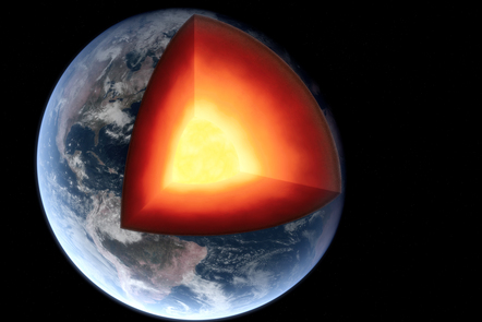 A 3D rendering of a photorealistic earth with a slice cut out of it, showing its glowing core.