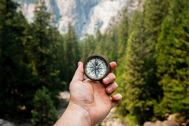 A compass held in a hand in front of a forest background.