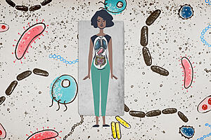 a drawing of a women with her internal organs drawn on top of her body, surrounded by drawings of microbes