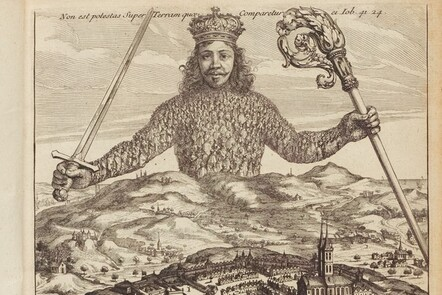 """The cover of Thomas Hobbes """"Leviathan"""". A crowned giant emerges from the landscape, clutching a sword (a symbol of earthly power) and a crosier (a symbol of Church power)."""