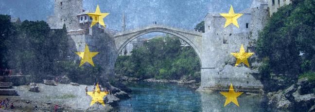 European flag overlaid on top of a photograph of Mostar Bridge