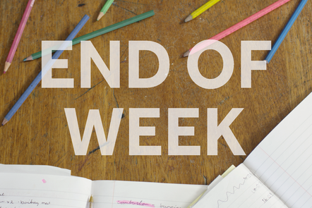 A photo of a school table that has pencils and exercise books, with text stating 'end of week'