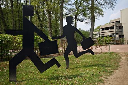 Digital meeting: Art consisting of a human figure and a digital figure