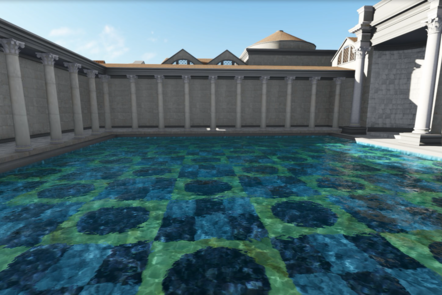 A digital recreation of Bath of Trajan. A swimming pool filled with water surrounded by marble pillars