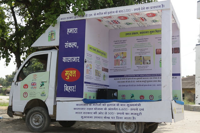 Van covered in educational posters about VL diagnosis and treatment, India, 2017