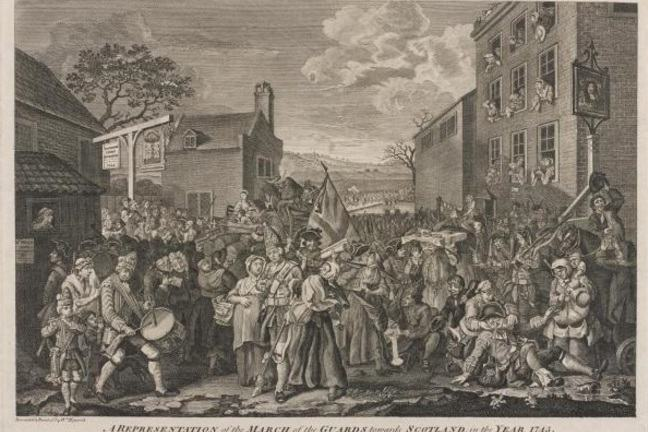 Engraving showing chaotic scene as the British Army assembles to march north to Scotland