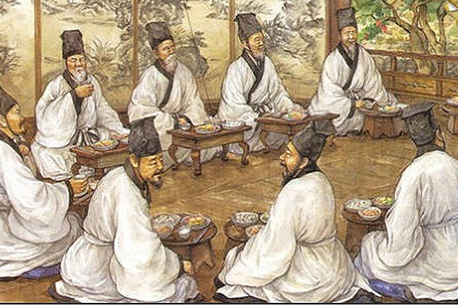 Joseon Korean scholars in a lively discussion.