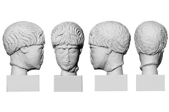 A laser scan of the head of Roman Celtic god Antenociticus, local to the Roman Wall.