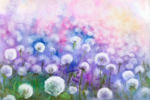 Field of dandelions, watercolor painting