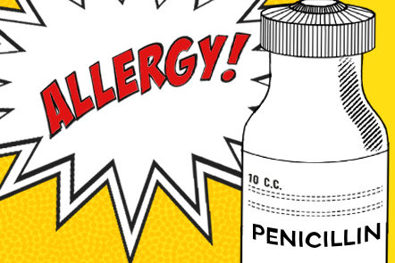 """The drawing of a penicillin bottle against a backdrop of a comic-style speech-bubble with the term """"allergy"""" written in it."""