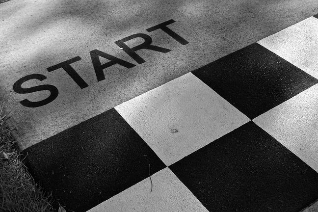 Black and white boxes on the ground with the word 'Start'