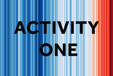 Activity one over climate stripes graphic. The blue changes to red indicating the temperature is getting hotter.