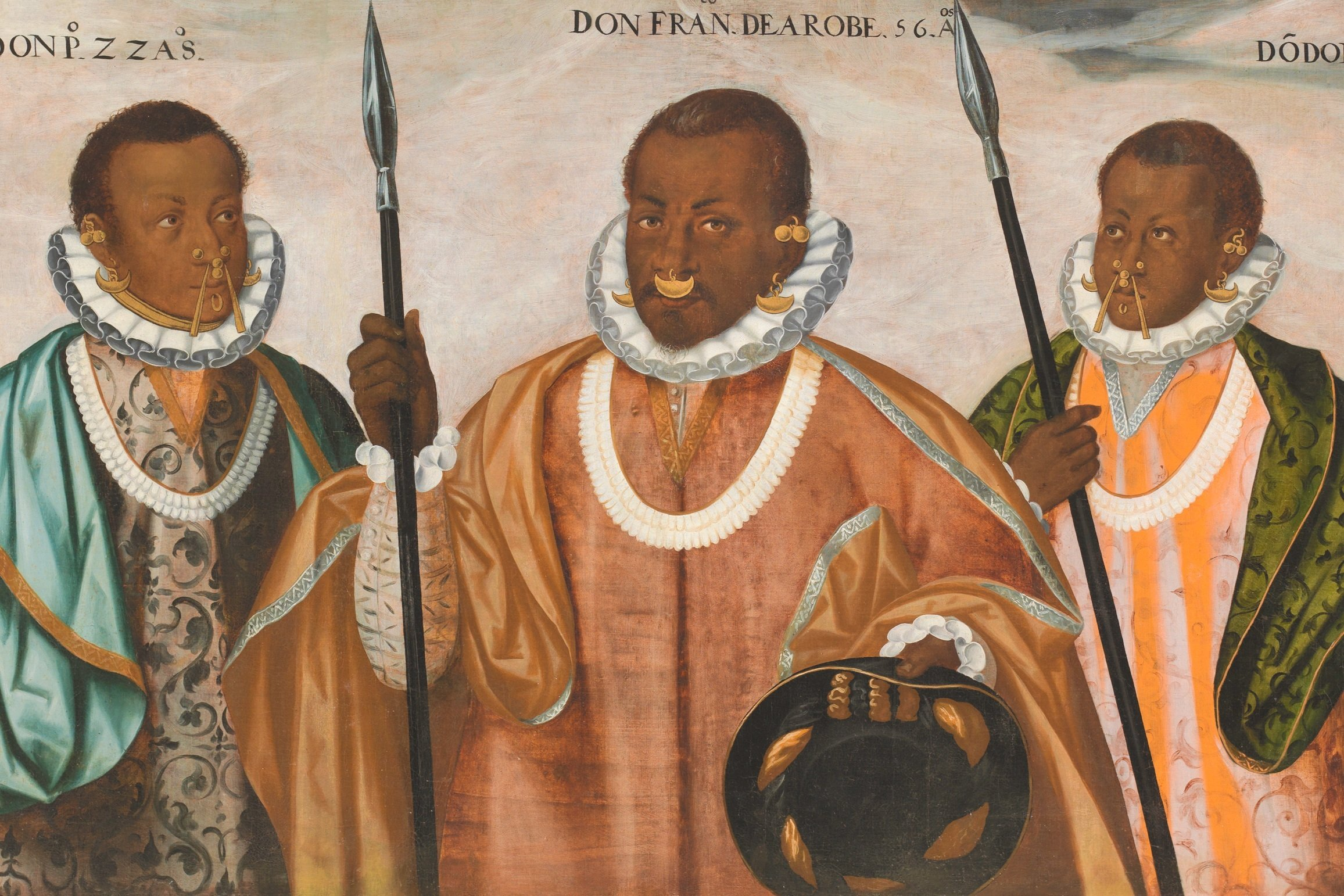 A late 16th century painting of a trio of Maroon leaders.