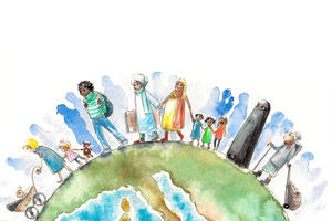 A drawn image of people walking across a globe
