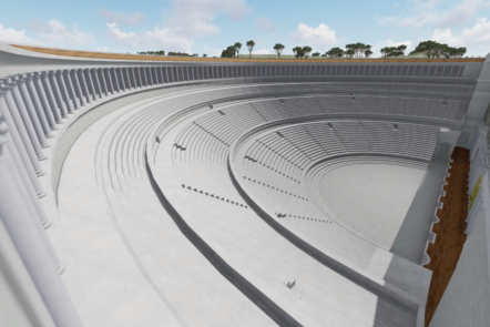 Digital reconstruction of the Theatre of Marcellus, an open air theatre that is empty.