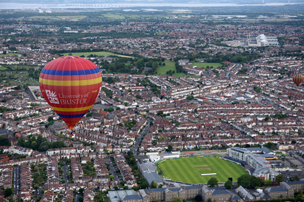 University of Bristol hot air balloon flying over Bristol