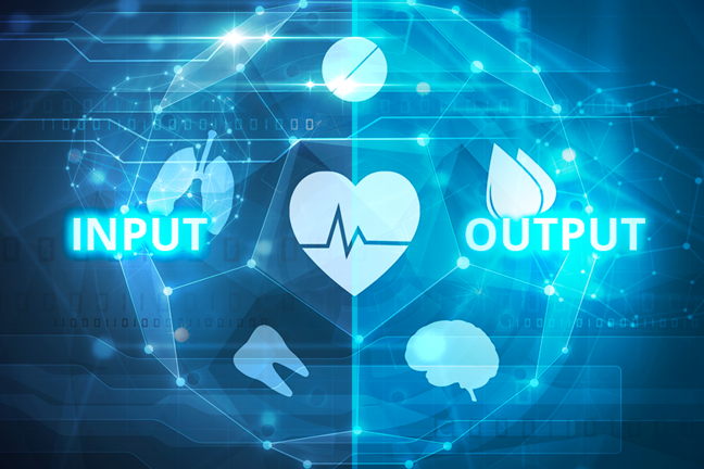 Futuristic healthcare interface with the text: input, output