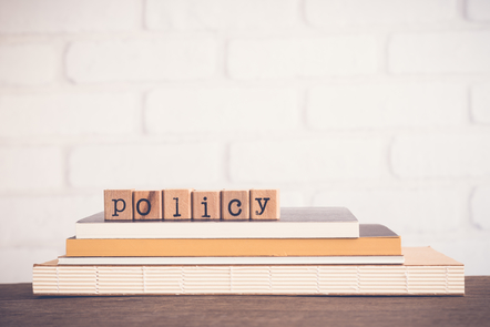 "Blocks of letter spelling out ""policy"" on top of books."