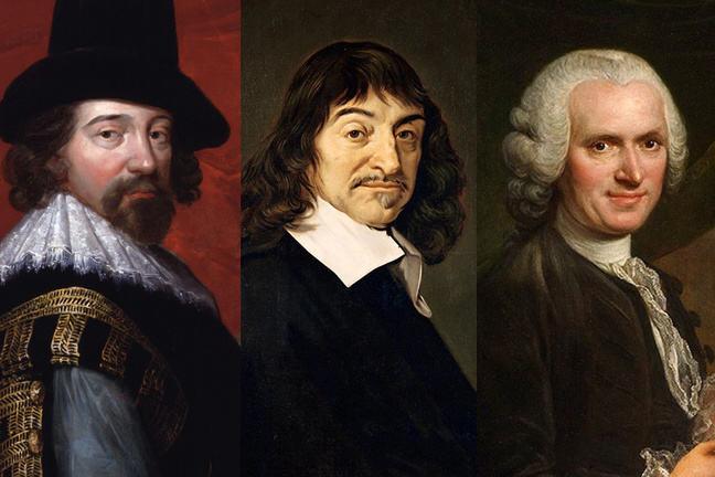 Portraits : Philosophers Francis Bacon, René Descartes, and Jean-Jacques Rousseau.