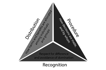 Diagram showing dimensions of justice