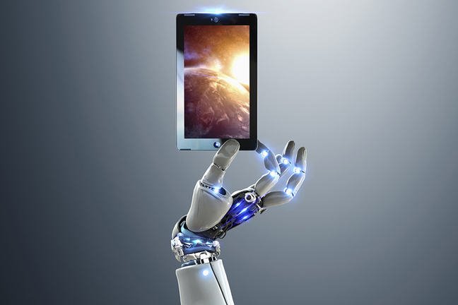 Robot hand holding digital tablet