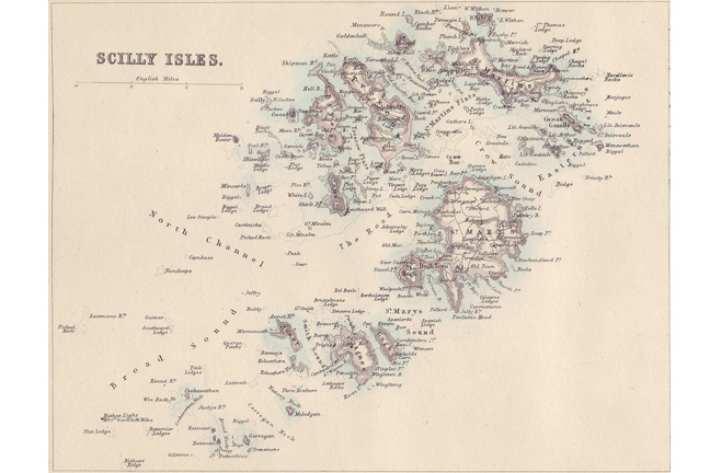 An old map of the Isles of Scilly