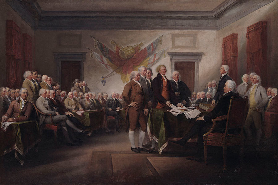 Photo of John Trumbull's oil painting, The Declaration of Independence, July 4, 1776