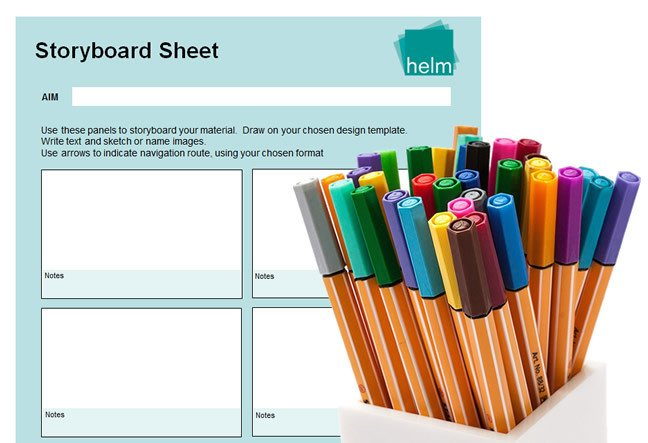 Storyboard and pens