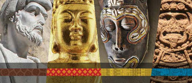 Images of ancient art from around the world, including sculpture, metalwork, mask, and stone engraving