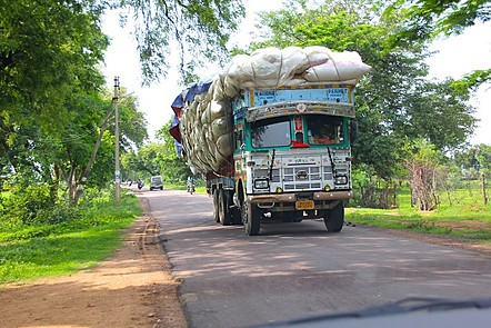 Large truck in India in the middle of road.