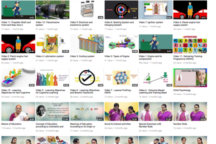 video thumbnails on screenshot: Video 2 Types of engine, Video 1 Engine And Its Components, Video 11 Delivering Training Programme, Video 9 Learning Objectives For Cognitive Learning, Video 8 Learning Objectives Bloom's Taxonomy, Video 7 Learner profiling