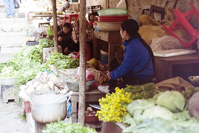 Fresh vegetable on traditional street market in Sapa, Vietnam