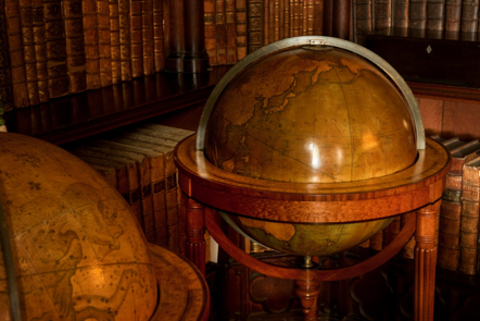 Terrestrial globes in the Library at Felbrigg Hall, Norfolk