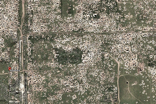 The 'lunar landscape' of the looted archaeological site of Apamea, Syria