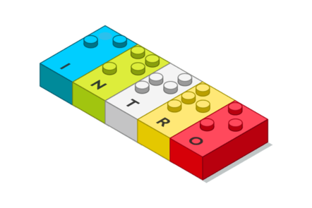 """Drawing of the LEGO Braille bricks, saying """"Intro""""."""
