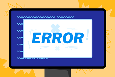 An illustration of a computer monitor displaying an error message