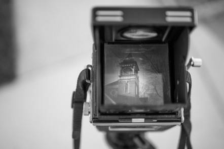 Black and white picture of a camera with non digital viewfinder