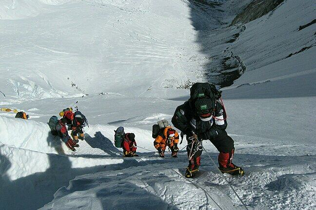 Climbers on an ice face on Mount Everest