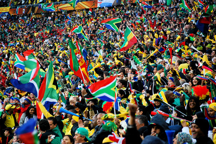 South African fans cheering their team at the 2010 FIFA World Cup