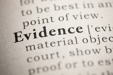 The word evidence on a page of a dictionary
