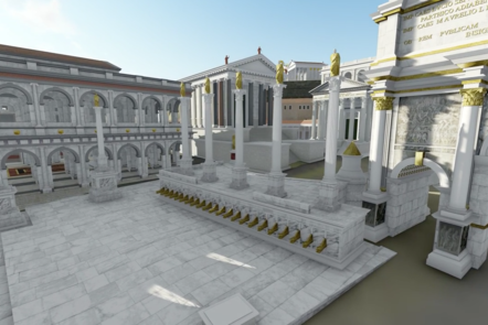 A digital recreation of the Fora, showing many buildings with large stone pillars and gold statues