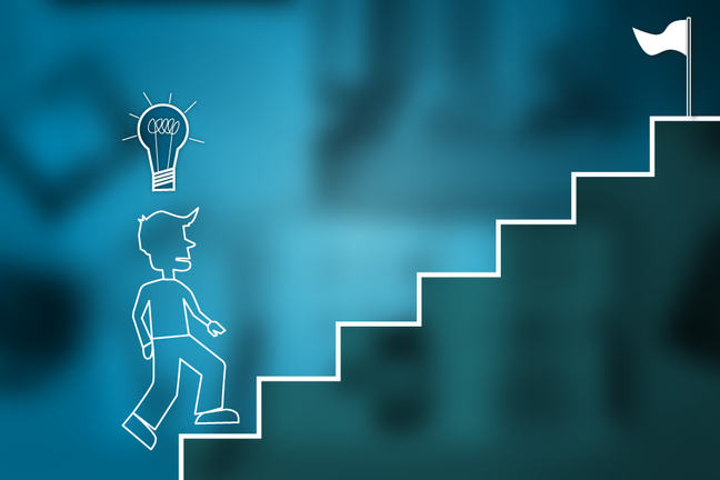 man climbing stairs with idea above his head