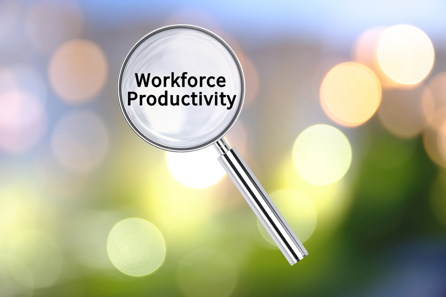 Magnifying glass showing the words 'Workforce Productivity'